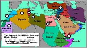 Political Map of North Africa and the Middle East