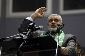 Ismail Haniyeh (Hamas) speaks-during a meeting in Tunis