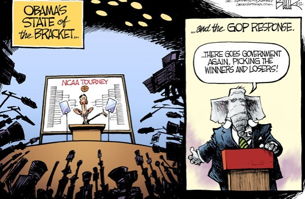 Nate Beeler © - Obama's state of the Bracket